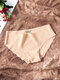 Women Seamless Solid Color Scallop Trim Cozy Mid Waisted Panties - Nude