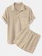 Camisas y pantalones cortos de manga corta con cordón y cuello medio abierto de color liso para hombre - Beige