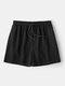 Pantalones cortos deportivos para correr con cordón casual de secado rápido de color puro para hombres - Negro