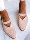 LOSTISY Large Size Retro Braided Veins Pointed Toe Hollow Slingback Flats for Women - Pink