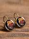 Vintage Glass Gem Dangle Women Earrings Animal Insect Cats Birds Pattern Earrings - #02