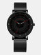 6 Colors Men Business Watch Adjustable Alloy Mesh Band Luminous Quartz Watch - Red Pointer Black Band