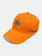 पुरुष कढ़ाई पत्र पैटर्न सादा रंग बेसबॉल टोपी आउटडोर सनशेड समायोज्य टोपी - संतरा