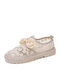 Women Lace Mesh Non Slip Soft Comfy Lace Up Fisherman Shoes Casual Hand Stitching Flat Shoes - Apricot