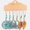 Bohemian Geometric Hollow Water Drop Pendant Earrings Vintage Turquoise Sun Flower Earring Set - 2