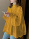 Solid Color Knotted Pleated Long Sleeve Ruffle Blouse for Women - Yellow