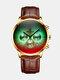 Luxury 30 Meters Waterproof Clock Male Casual Mesh Belt Quartz Watch - Gold Dial Gold Shell Brown Leath