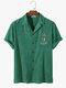 Mens Towelling Palm Tree Embroidery Button Up Short Sleeve Shirts - Green