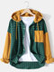 Mens 100% Cotton Check Patchwork Drop Shoulder Hooded Shirts With Pocket - Green
