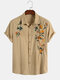 Mens Cotton Breathable Floral Embroidered Button Up Casual Short Sleeve Shirts - Khaki