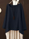 Solid Color Crew Neck Long Sleeve Plus Size Blouse - Navy