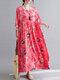 Painted Geometry Print Loose 3/4 Length Sleeve O-neck Vintage Dress - Red