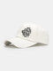 Unisex Cotton Broken Hole Letters Embroidery All-match Sunshade Baseball Cap - White
