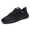 Men Mesh Breathable Lace Up Light Weight Sport Running Shoes - Black1