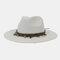 Men And Women British Wind Jazz Straw Hat Outdoor Sunscreen Breathable Big Brim Sun Hat - White