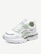 Women Sport Color Block Splicing Mesh Breathable Comfy Wearable Lace Up Running Sneakers - Green