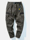Mens Corduroy Solid Side Pocket Sport Casual Fit Mid Waist Cropped Cargo Pants - Coffee