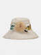 Women Cotton Solid Calico Print Patchwork Tulle Flower Decoration Breathable Sunshade Foldable Bucket Hat - Beige