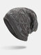 Men Winter Plus Velvet Striped Pattern Outdoor Long Knitted Warm Beanie Hat - Gray