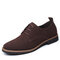 Men Microfiber Leather Round Toe Oxfords Lace-up Casual Shoes - Brown