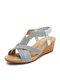 Женская богемная летняя праздничная обувь, повседневная эластичная Стандарты Удобная обувь на танкетке Сандалии - Серебряный