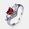 Vintage Geometric Peach Heart Crown Rings Hollow Gem Rhinestone Rings Chic Jewelry - Red