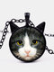 Vintage Printed Black White Cat Face Women Necklace Cat Ear Glass Pendant Sweater Chain - Black