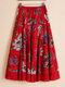 Falda festiva con estampado de flores étnicas bohemias y cintura elástica Hoja - Rojo #1