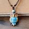 Vintage Geometric Rhinestones Owl Pendant Drawstring Necklace Ethnic Handmade Ceramic Adjustable Long Necklace - Blue