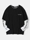 Mens Japanese Print Contrast Faux Twinset Casual Long Sleeve T-Shirts - Black