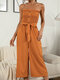 Polka Dot Print Tie-up Waist Button Front Tube Jumpsuit - Yellow