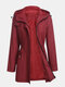 Solid Color Knotted Zip Front Long Sleeve Casual Coat - Red