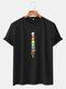 Mens Ice Cream Print Preppy Crew Neck Short Sleeve T-Shirt - Black