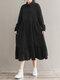 Solid Color Corduroy Patchwork Button Loose Casual Dress - Black