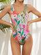 Plus Size Women Watercolor Floral Print Open Back One Piece Sleeveless Swimsuit - Multi Color