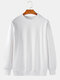 Mens 13 Colors Solid Color Basic Cotton Crew Neck Pullover Sweatshirts - White