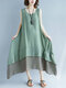 Color Contrast Patched Plus Size Layered Tank Top Dress - Green