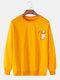 メンズ面白い漫画プリント無地リラックスフィットカジュアルラウンドネックスウェットシャツ - 黄