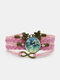 Vintage White Floral Pattern Print Butterfly Braided Gemstone Multi-layer Bracelet - Pink