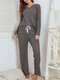 Women Brief Style Solid Color Plus Size V-Neck Two-Piece Home Lounge Pajamas Set - Gray