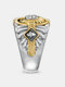 Vintage Two-Color Epoxy Men Ring Portrait Pattern Ring Jewelry Gift - Silver