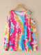 Leopard Print Tie Dye Off-shoulder Long Sleeve Women T-shirt - Multicolor