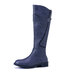 Plus Size Women Solid Round Toe Buckle Slip On Riding Boots - Purple