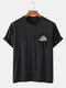 Mens Solid Color Rainbow Print Breathable & Thin O-Neck T-Shirts - Black