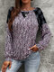 Leopard Check Stitch O-neck Long Sleeve T-shirt for Women - Pink