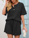 Waffles Knit Button Front Tee & Drawstring Shorts Solid Suit - Black