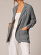 Women Pleated Solid Color Long Sleeve Cotton Office Suit Jacket