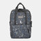 Women Waterproof Camo Print School Bag Travel Bag Backpack - Grey