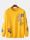 Mens Cotton Tag Letter Print 8 Colors Crew Neck Loose Pullover Sweatshirt - Yellow