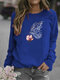 Butterfly Printed Long Sleeve O-neck T-shirt For Women - Blue